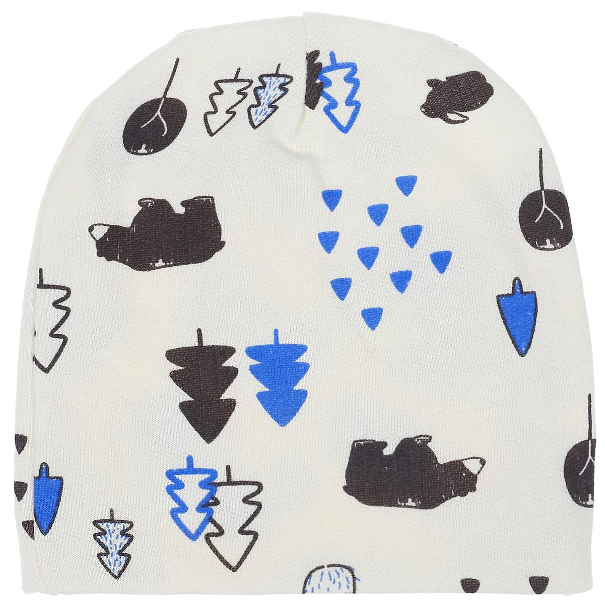 Шапочка для мальчика КотМарКот, цвет: белый, голубой. 8518. Размер 408518Комфортная шапочка КотМарКот изготовлена из натурального хлопка. Шапочка необходима любому младенцу, она защищает еще не заросший родничок, щадит чувствительный слух малыша, прикрывая ушки, а также предохраняет от теплопотери. Модель оформлена принтом.