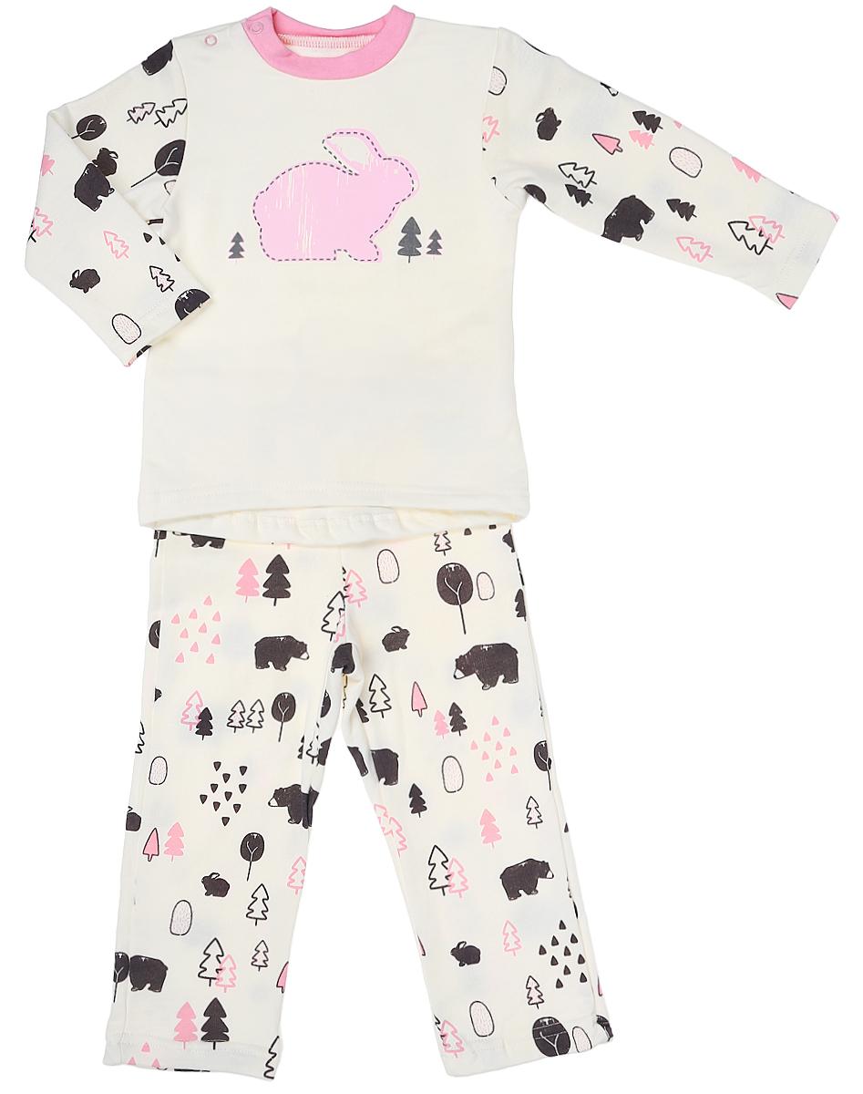 Пижама для девочки КотМарКот, цвет: молочный, розовый. 16817. Размер 8616817Пижама для девочки КотМарКот состоит из футболки с длинным рукавом и брюк. Выполненная из натурального хлопка, она мягкая и легкая, не сковывает движения, хорошо пропускает воздух.Футболка с длинными рукавами и круглым вырезом горловины имеет застежки-кнопки по плечевому шву, что помогает с легкостью переодеть ребенка. Брюки прямого кроя на талии имеют эластичную резинку.Пижама оформлена принтом.В такой пижаме ваш ребенок будет чувствовать себя комфортно и уютно во время сна.