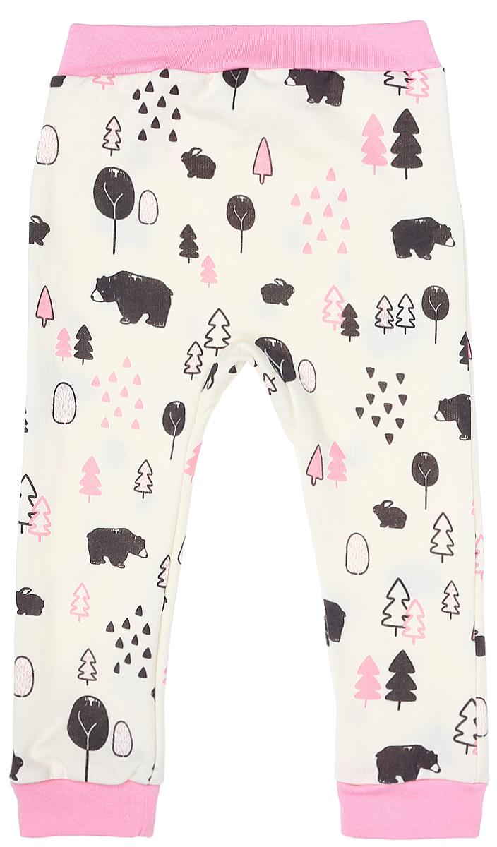 Штанишки на широком поясе для девочки КотМарКот, цвет: молочный, розовый. 5917. Размер 80 брюки котмаркот штанишки сердечко