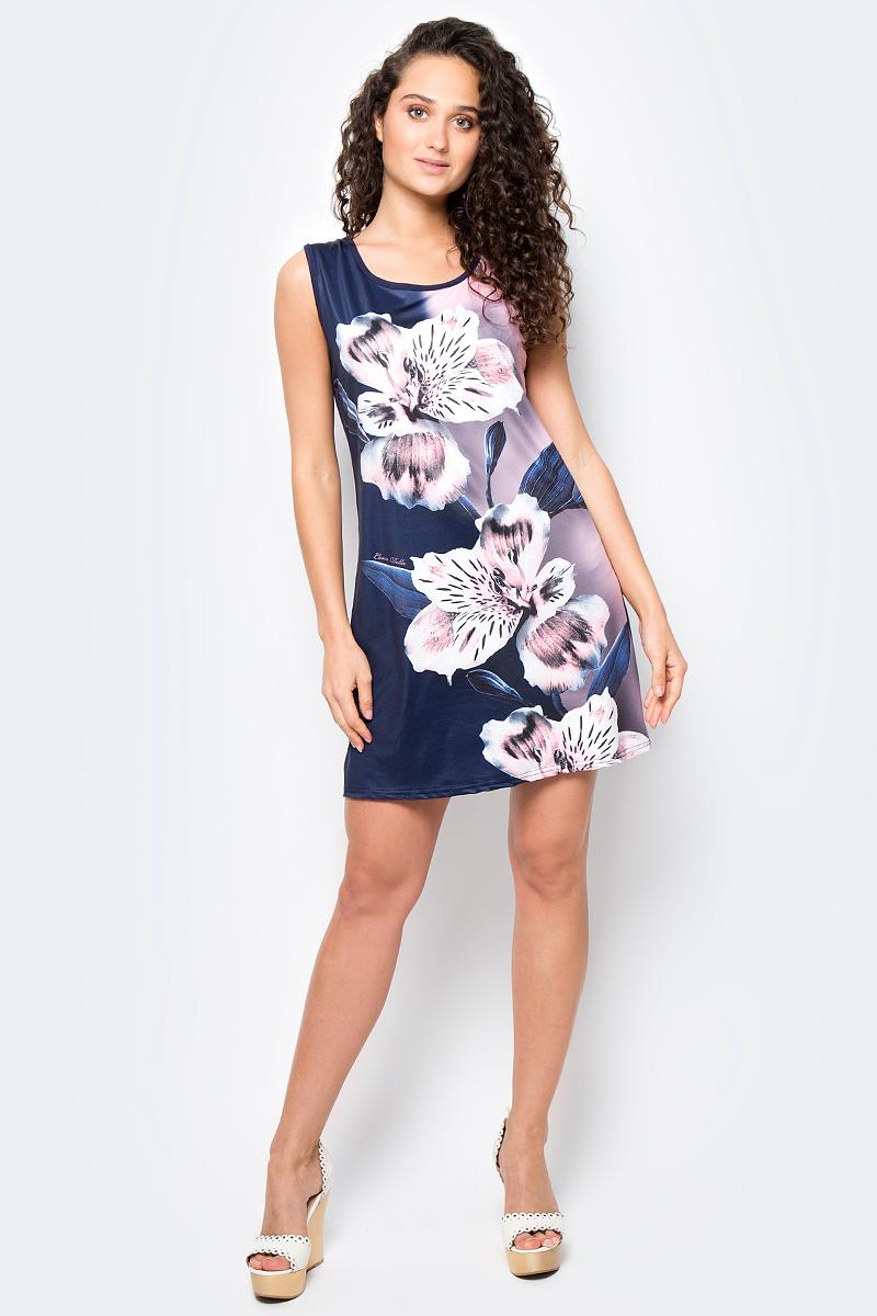 Сарафан женский Vitta Pelle, цвет: синий, розовый. Ro06B1251/L5687. Размер M (44/48)Ro06B1251/L5687Платье из трикотажного полотна с принтом.