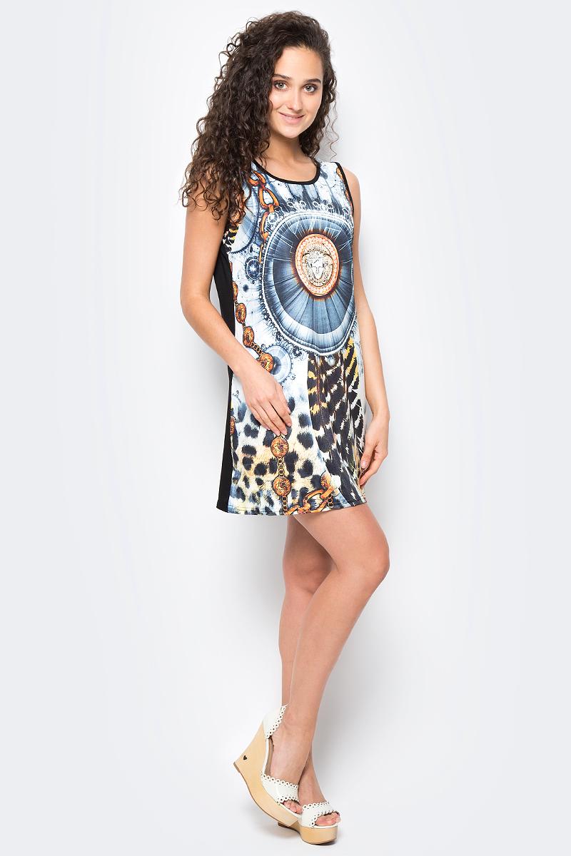 Сарафан женский Vitta Pelle, цвет: белый, желтый. Ro06B1251/L5257. Размер M (44/48)Ro06B1251/L5257Платье из трикотажного полотна с принтом.