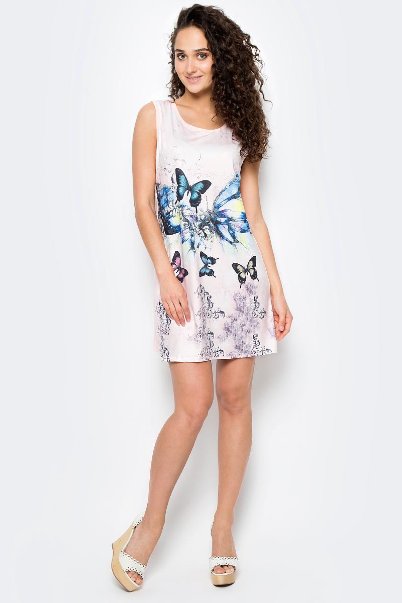 Сарафан женский Vitta Pelle, цвет: розовый, синий. Ro06B1251/L5262. Размер M (44/48)Ro06B1251/L5262Платье из трикотажного полотна с принтом.