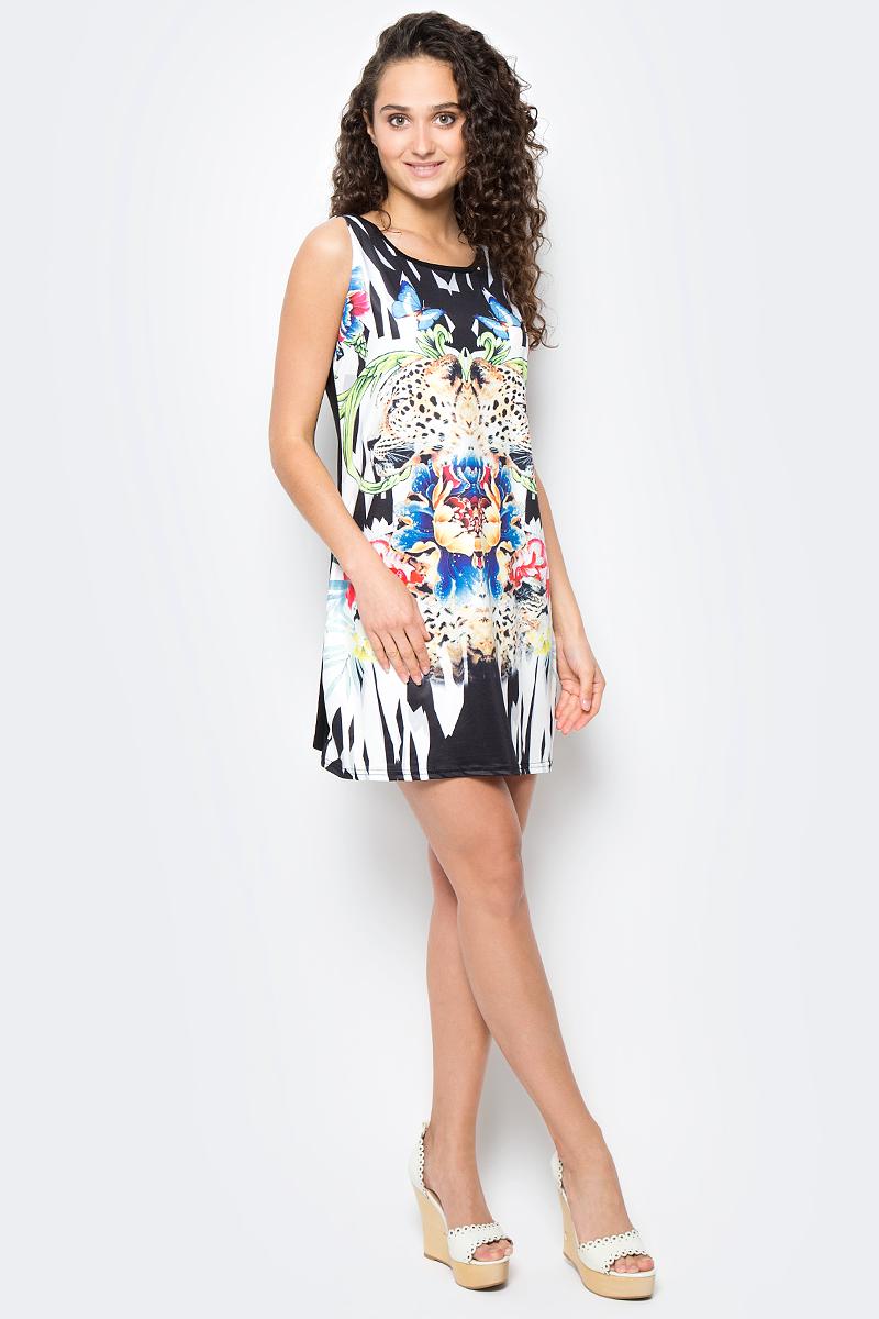 Сарафан женский Vitta Pelle, цвет: черный, белый. Ro06B1251/L5518. Размер M (44/48)Ro06B1251/L5518Платье из трикотажного полотна с принтом.