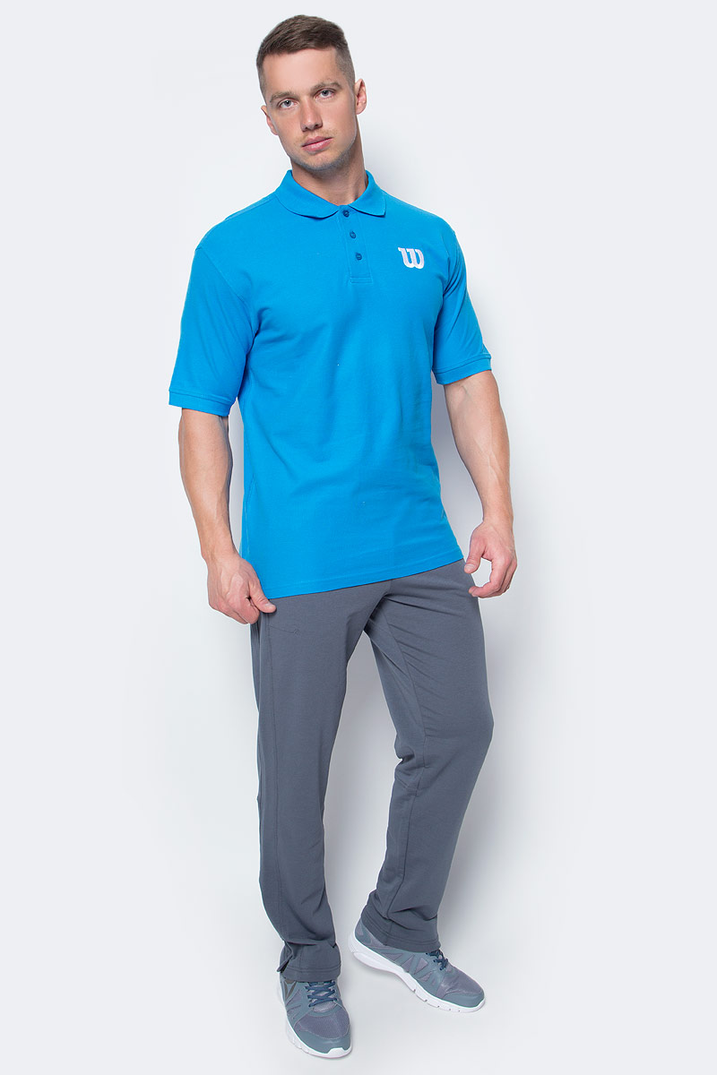 Поло для тенниса мужское Wilson Core Cotton W Polo, цвет: голубой. WRA720608. Размер L (52)WRA720608Классическое теннисное поло Wilson на трех пуговицах выполнено из натурального хлопка. Модель с короткими рукавами и отложным воротником.
