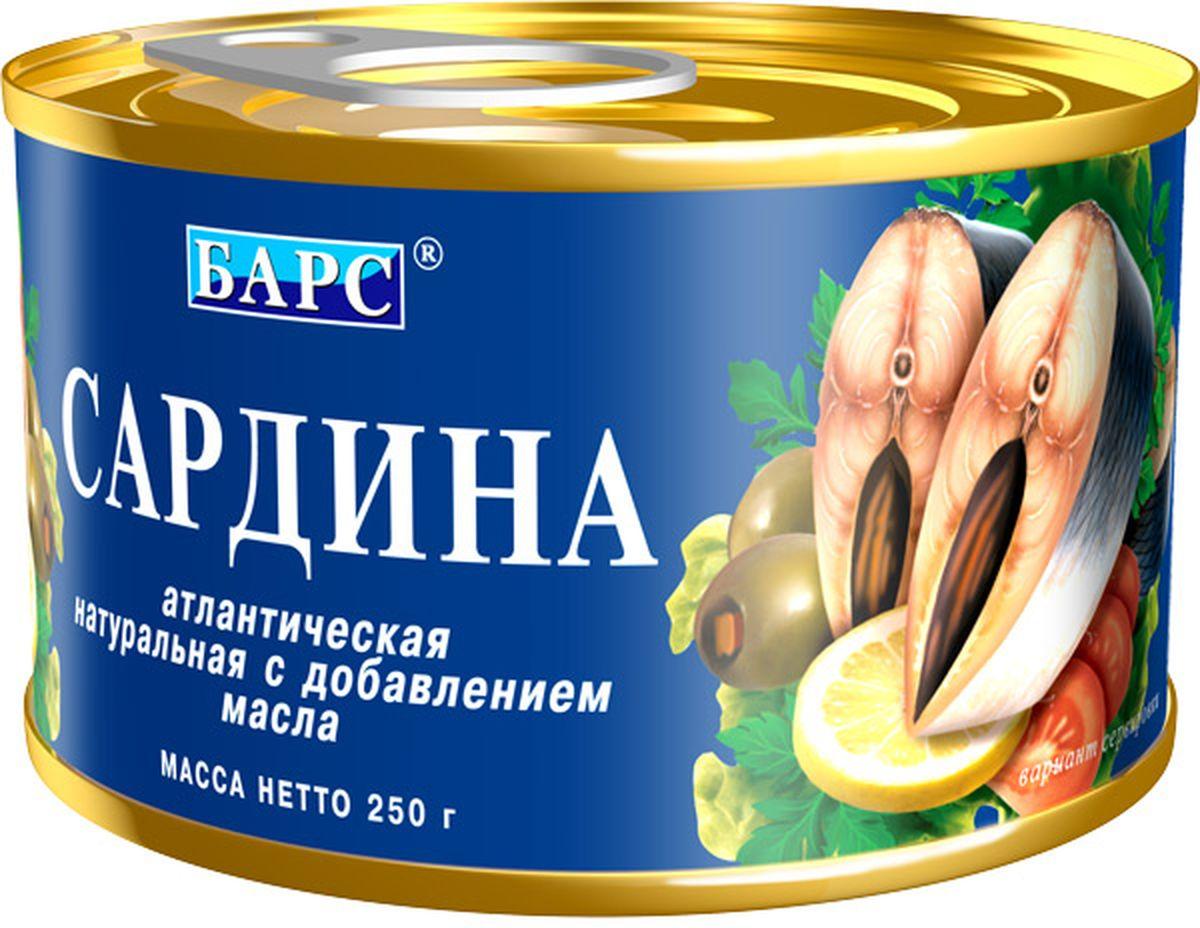 Барс сардина атлантическая натуральная с добавлением масла, 250 г барс свинина тушеная высший сорт гост 325 г
