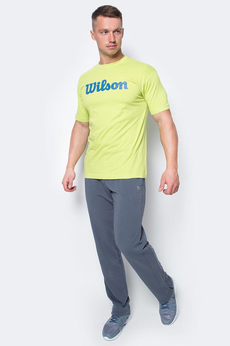 Футболка для тенниса мужская Wilson Script Cotton Tee, цвет: салатовый. WRA747802. Размер L (52)WRA747802Тренировочная футболка с логотипом Wilson. Спортивный крой для оптимального комфорта. Модель выполнена с круглой горловиной и короткими рукавами.