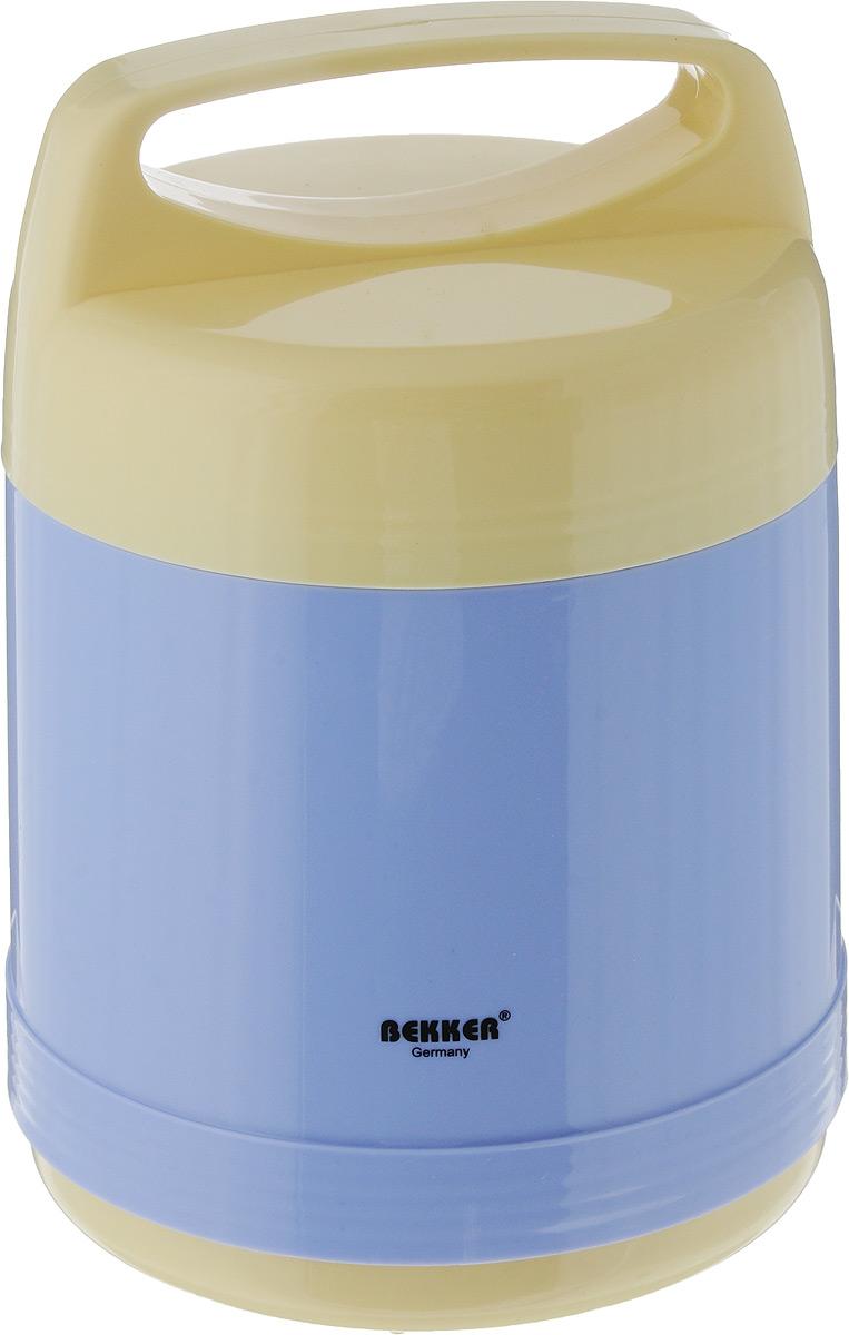 Термос Bekker, с контейнерами, цвет: голубой, желтый, 1 л23707Пищевой термос с широким горлом Bekker,изготовленный из высококачественного пластика,является простым в использовании, экономичным имногофункциональным. Изделие оснащено двумяконтейнерами. Термос с широким горломпредназначен для хранения горячей и холодной пищи,мороженого, фруктов и льда.Благодаря стеклянной колбе, легкий и прочный термосBekker сохранит ваши напитки и продукты горячими илихолодными надолго. Рекомендована ручная чистка.Высота (с учетом крышки): 21 см. Диаметр контейнеров: 10,5 см. Высота контейнеров: 3,5 см; 10,5 см.Объем контейнеров: 200 мл; 750 мл.
