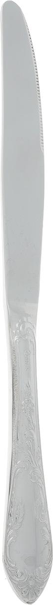 Нож столовый Павловский завод Посольский, длина 24 смНС-1М18ЦИУНож столовый Павловский завод Посольский выполнен из высококачественной коррозионностойкой стали. Высокая степень полировки придает изделию безупречный внешний вид и яркий блеск. Прибор устойчив к деформациям и воздействию любых сред, не меняет вкус блюд и долгое время сохраняет превосходный вид. Ручка прибора дополнена изысканным рельефным узором. Орнаментация прибора, выполненная в лучших традициях стиля Ренессанс, отличается цельностью художественного замысла в изображении природных форм и использовании элементов классической живописи.Длина ножа: 24 см.