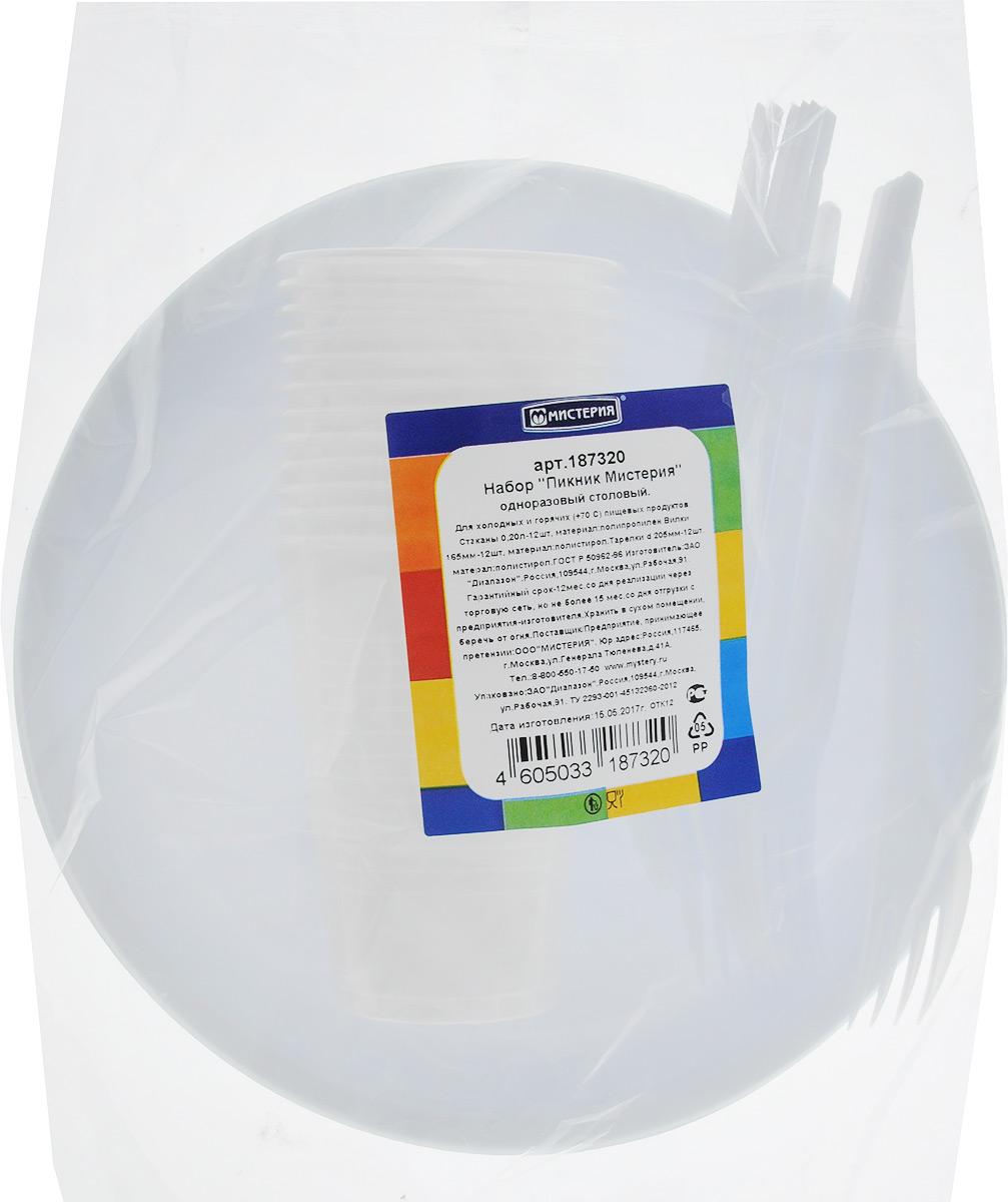 Набор одноразовой посуды Мистерия Пикник, 36 предметов187320Набор одноразовой посуды Мистерия Пикник на 12 персон включает 12 тарелок, 12 вилок, 12 стаканов. Посуда выполнена из пищевого пластика, предназначена для холодных и горячих (до +70°С) пищевых продуктов. Такой набор посуды отлично подойдет для отдыха на природе. В нем есть все необходимое для пикника. Он легкий и не занимает много места, а самое главное - после использования его не надо мыть. Объем стакана: 200 мл. Диаметр стакана (по верхнему краю): 7 см. Высота стакана: 9,5 см. Диаметр тарелки: 20,5 см. Длина вилки: 16,5 см.