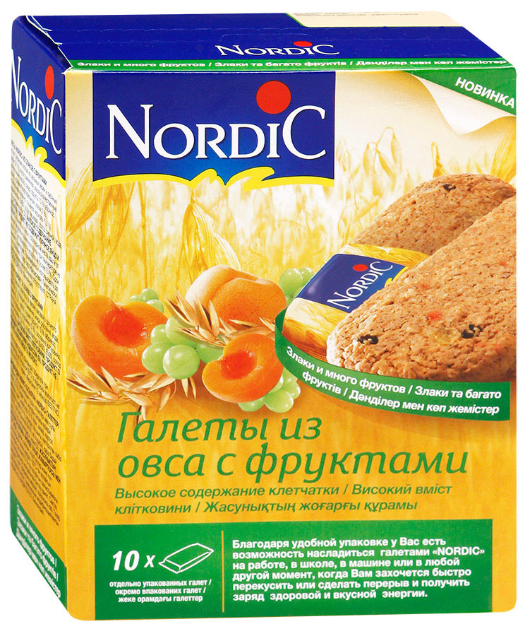 Nordic галета из овса с фруктами, 300 г6411200106746Вкусный полезный перекус, традиционный овсяный продукт (печенье из овса) по особой здоровой, полезной, финской рецептуре. Не очень сладкий продукт, не содержит молока и яиц. Удобная упаковка и все преимущества цельного зерна и овсяной каши в одной галете.