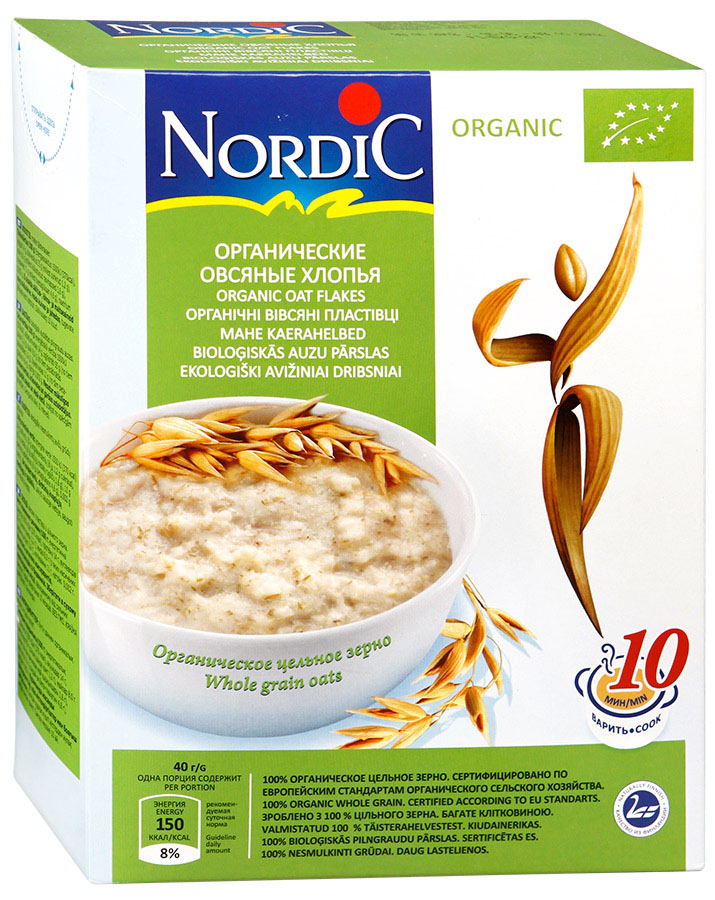 Nordic хлопья органические овсяные, 600 г nordic хлопья овсяно ржаные с отрубями и семенами льна 600 г