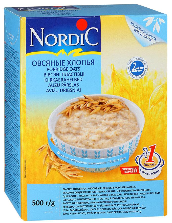 Nordic хлопья овсяные, 500 г nordic хлопья овсяно ржаные с отрубями и семенами льна 600 г