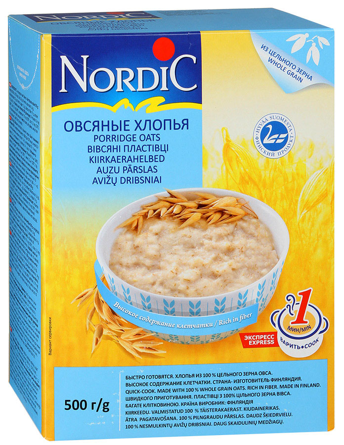 Nordic хлопья овсяные, 500 г rosenfellner muhle крупа гречневая органическая 500 г