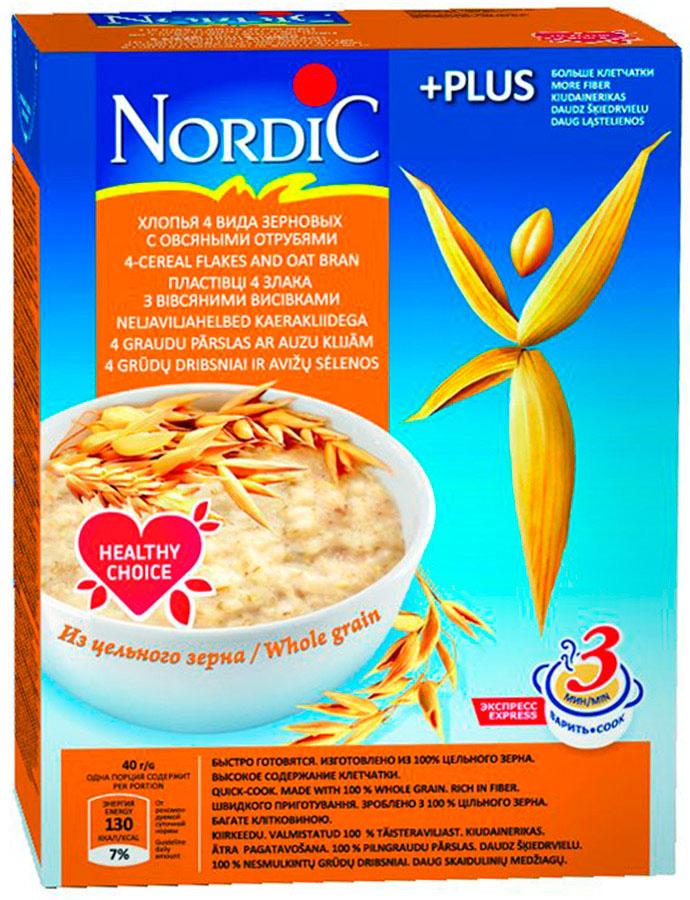 Nordic хлопья 4 видов зерновых с овсяными отрубями, 600 гбир025Чтобы каждый день чувствовать прилив сил и быть уверенным в себе, просто необходимо питаться правильно. Природа позаботилась о вкусных и полезных продуктах, а специалисты нашей компании объединили то лучшее, что она нам дала в продукцию с оптимальным сочетанием витаминов и микроэлементов, незаменимых для здоровой и полноценной жизни.Отруби не так давно появились в рационе современного человека. Недавние исследования показали, что они оздоравливают и витаминизируют организм. Ведь отруби богаты клетчаткой, витаминами группы В и минеральными веществами. Отруби повышает сопротивляемость организма болезням и улучшает его работоспособность. 4 вида зерновых с овсяными отрубями–это полезный, сытный, богатый витаминами и низкокалорийный завтрак, необходимый для хорошего самочувствия!