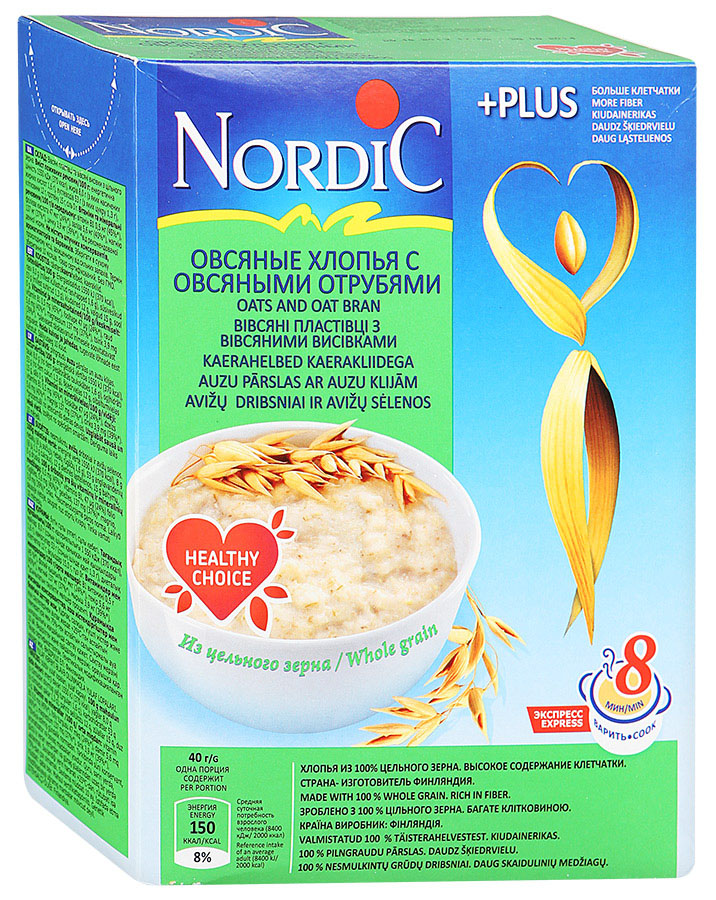Nordic хлопья овсяные с овсяными отрубями, 600 г helsinki mills хлопья органические helsinki mills овсяные с пшеничными отрубями 400 г