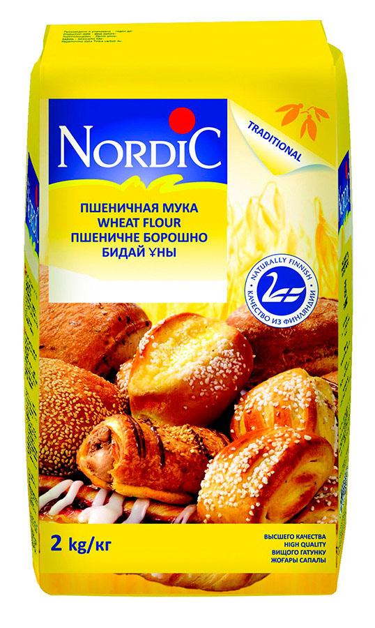 Nordic мука пшеничная, 2 кгблр030Высококачественная пшеничная мука Nordic отлично подходит для выпечки хлеба, изделий из дрожжевого и слоеного теста, печенья, кексов и тортов.
