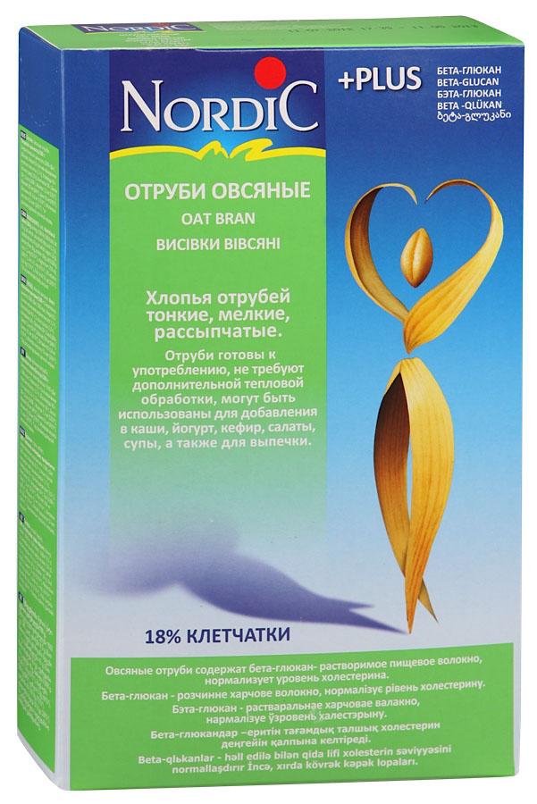 Nordic отруби овсяные, 700 гнхр002Овсяные отруби содержат бета-глюкан - растворимое пищевое волокно, нормализует уровень холестерина. Хлопья отрубей тонкие, мелкие, рассыпчатые. Отруби готовы к употреблению, не требуют дополнительной тепловой обработки, могут быть использованы для добавления в каши, йогурт, кефир, салаты, супы, а также для выпечки.