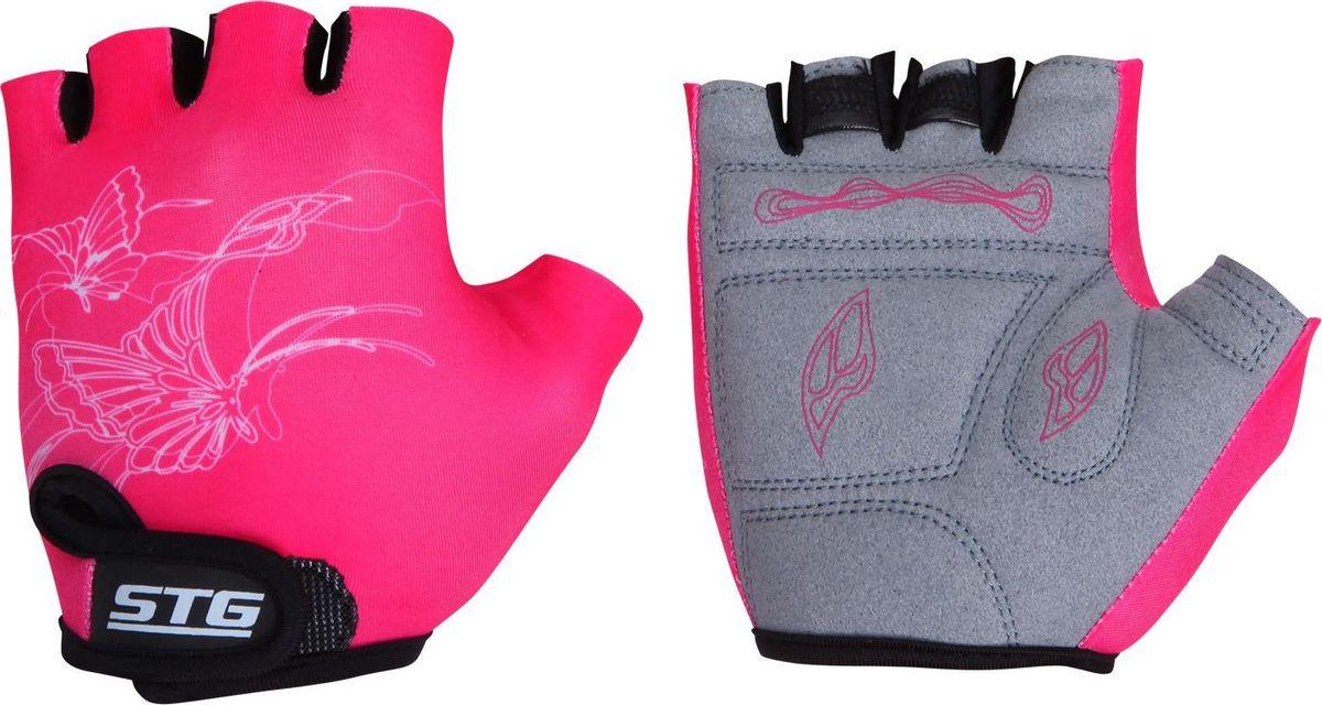 Перчатки детские велосипедные Stinger, летние, быстросъемные, с защитной прокладкой, цвет: розовый, черный . Размер S