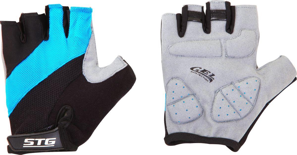 Перчатки велосипедные Stinger, летние, с защитной гелевой прокладкой, цвет: голубой, черный. Размер L