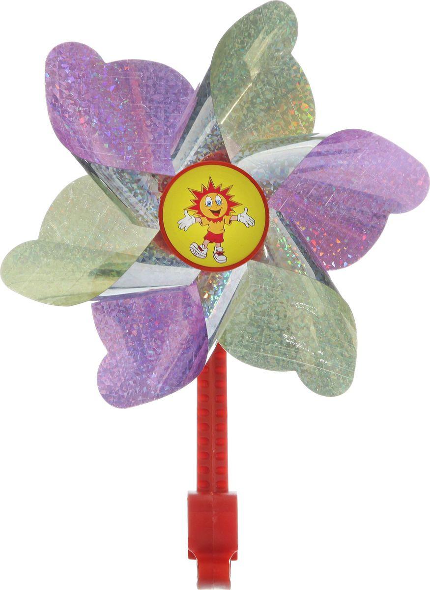 Ветряная мельница STG, цвет: желтый, фиолетовыйХ68660-5Яркая ветряная мельница STG сделает прогулки вашего ребенка на намного веселее. Мельница предназначена для крепления на руль велосипеда или самоката.
