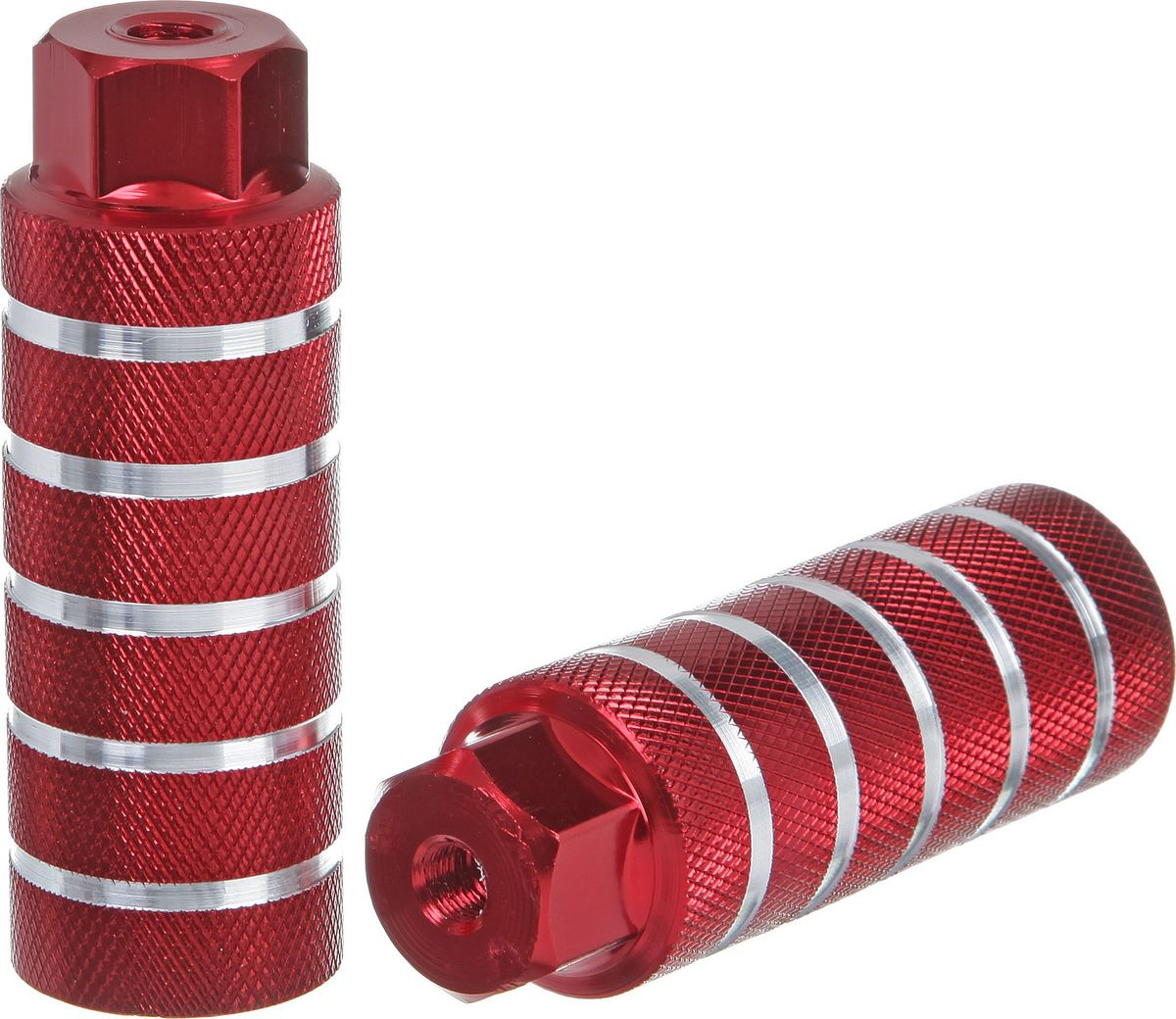 Пеги для BMX STG, цвет: красный, серебристый, диаметр 3,8 см, длина 10 см, 2 штХ73981-5Пеги для BMX STG, выполненные из алюминия, предназначены исключительно для трюков и крепятся на крепкие стальные болты, так как должны выдерживать вес не только велосипедиста, который может опираться на пегу во время выполнения трюка, но и еще и массу самого велосипеда.Ось велосипеда: 3/8.