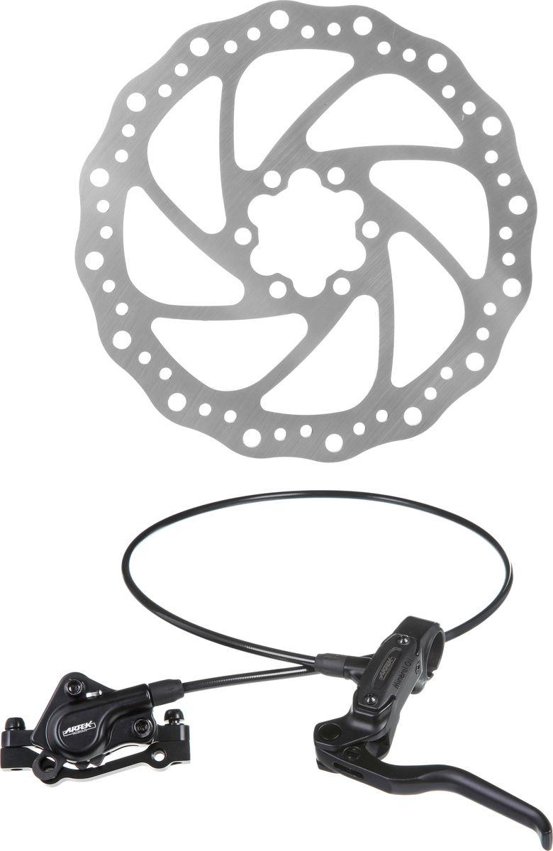 Тормоз гидравлический дисковый Artek ADC-SLP1, передний 750 ммХ75243Велосипед, как и любой другой вид транспорта, должен быть оборудован такими тормозами, которые смогут гарантированно остановить его, но при этом не будут излишне большими по размеру и весу. Тормоз гидравлический дисковый Artek передний, длинной 750 мм обеспечит вам качественное и своевременное торможение.