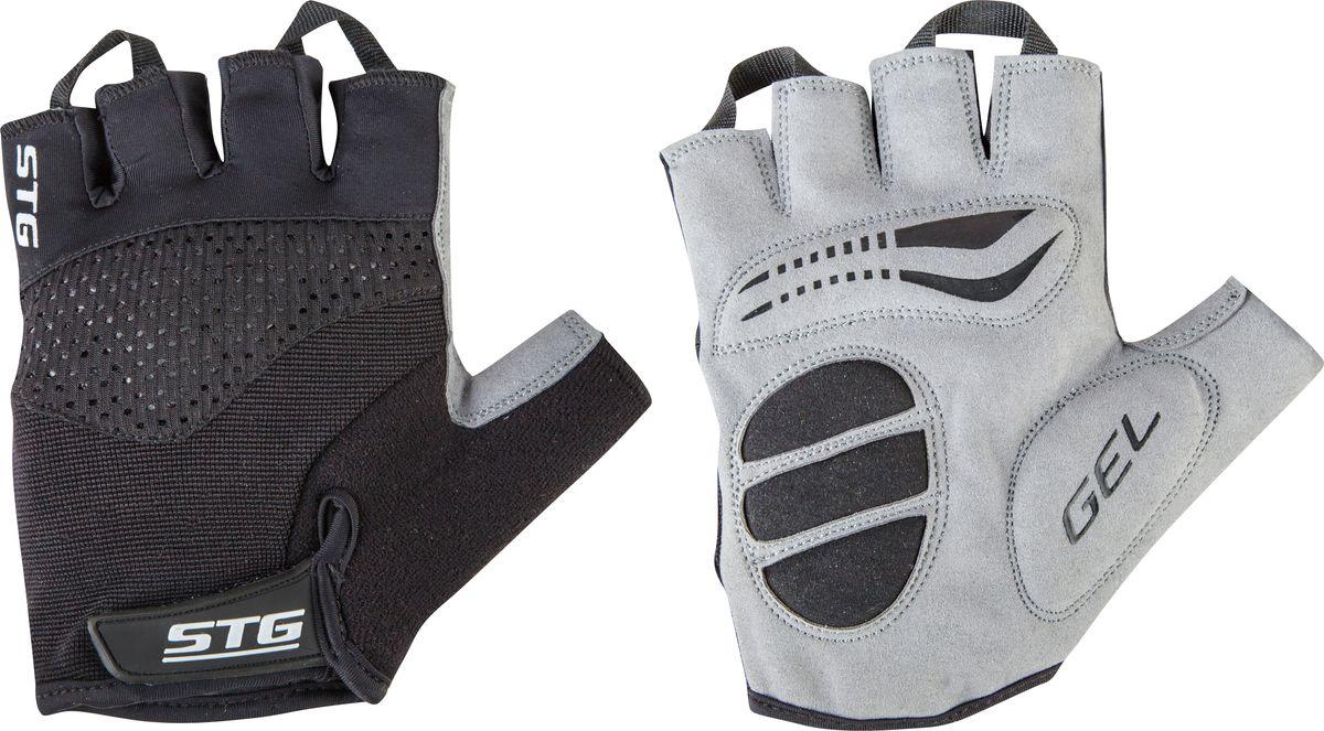 Перчатки велосипедные STG AI-03-202, летние, с вентиляцией, цвет: черный, серый. Размер L
