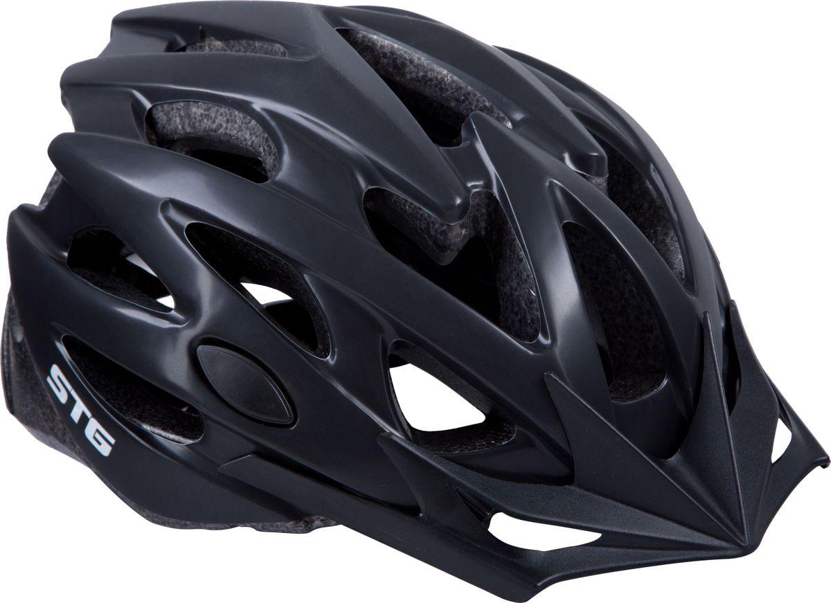Шлем велосипедный STG MV29-A, цвет: черный. Размер MХ82393Велошлем STG MV29-A - необходимый аксессуар каждого велосипедиста, предназначенный для защиты головы во время катания. Специальные отверстия обеспечивают оптимальную вентиляцию головы. Велошлем STG MV29-A с удобной подкладкой и застежкой, которая комфортно фиксирует шлем на голове велосипедиста - это отличный выбор для ежедневных активных поездок или безопасных прогулок по выходным. Обхват головы: M (55-58см).