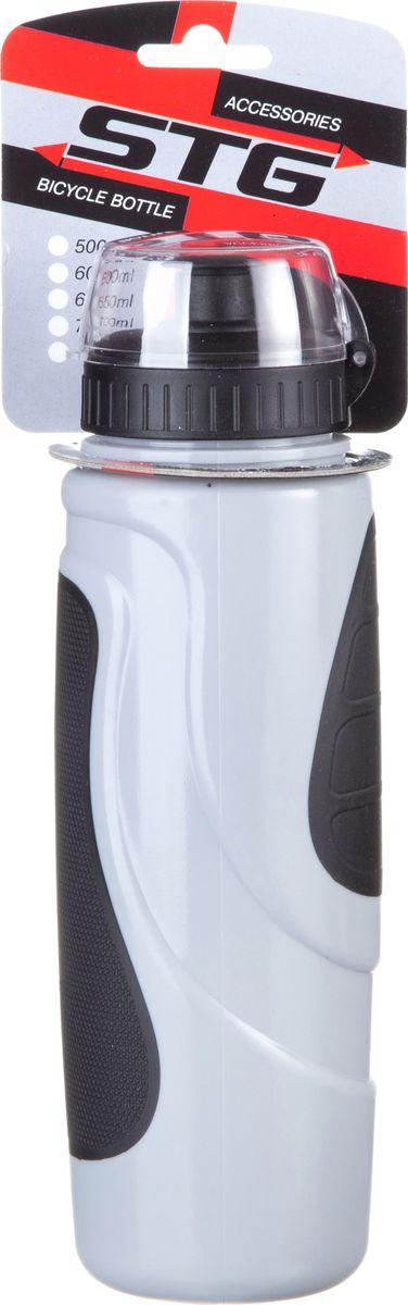 Фляга велосипедная STG DC-BT-55, с крышкой, цвет: серый, черный, 700 млХ83105Велофляга STG - это незаменимая вещь в походах и на велопрогулках на большие расстояния, подойдет для всех велосипедистов, любителей или профессионалов. Фляга выполнена из ударопрочного пластика стойкого к высоким температурам. Эргономичная форма велобутылки позволяет легко достать и быстро поместить ее во флягодержатель. Оптимальный объем фляги (700 мл) обеспечивает необходимое количество жидкости для подпитки велоспортсмена. Велофляга имеет удобный клапан с блокировкой, который препятствует проникновению воды. Широкое горлышко позволяет перелить воду из небольших емкостей без использования воронки.