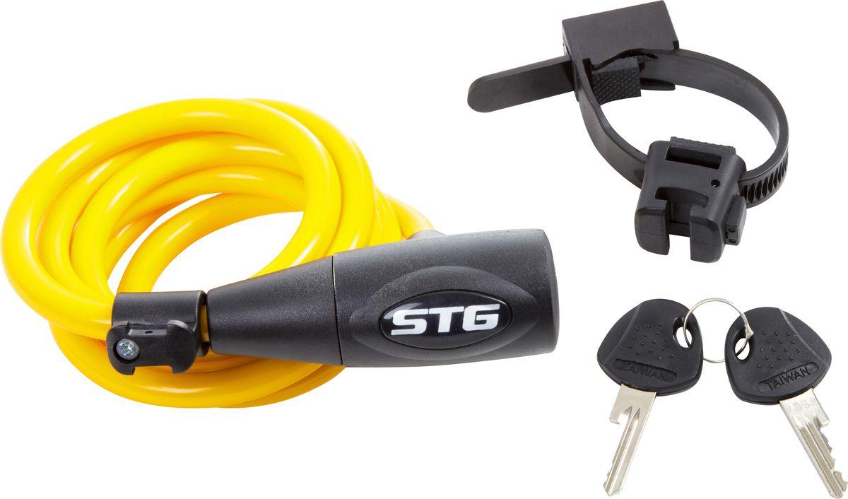 Замок велосипедный STG CL-428, с ключом, цвет: желтый, 10 мм х 150 см насос велосипедный stg gp 46l ручной