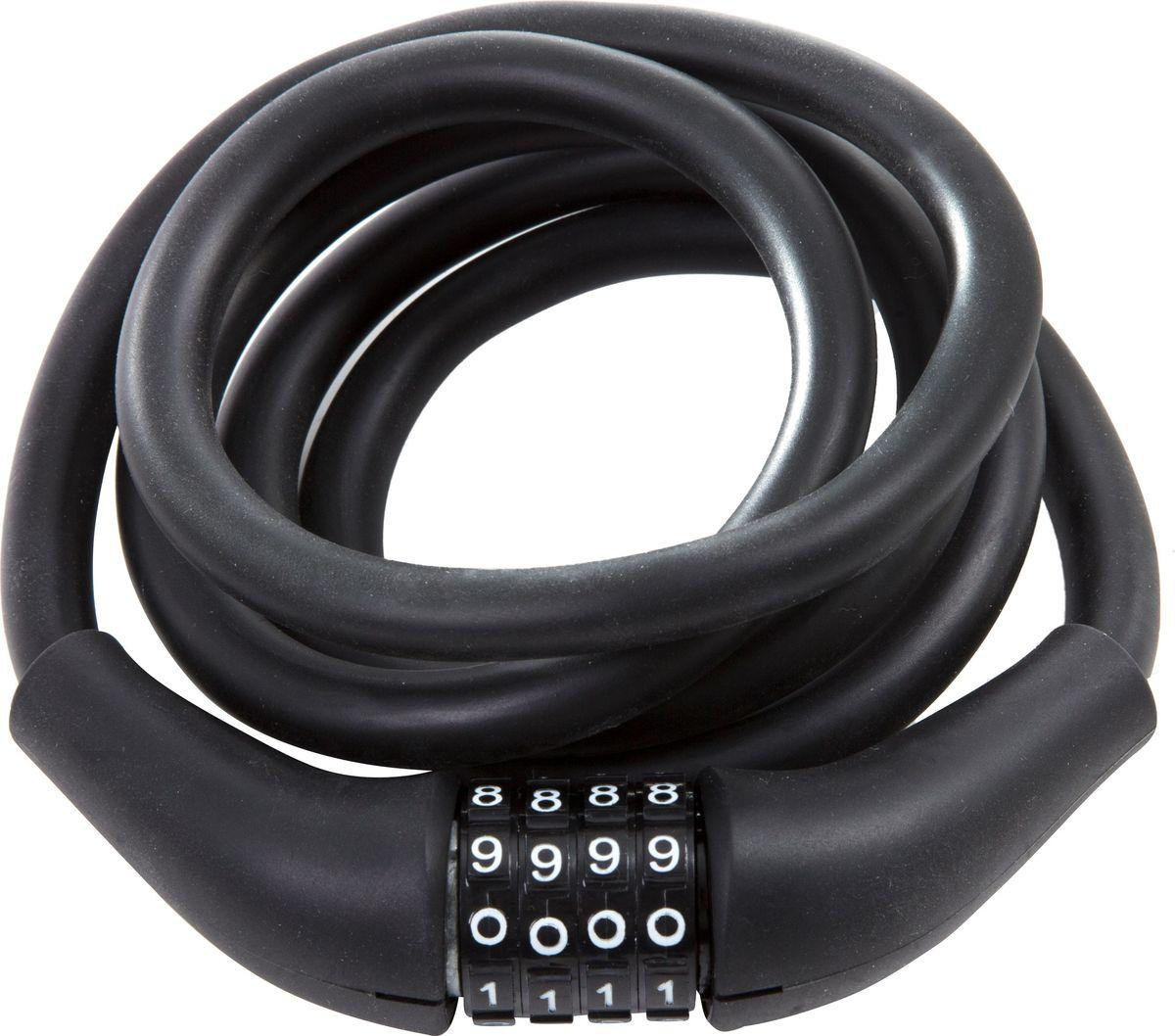 Замок велосипедный STG CLM-866, кодовый, запоминающий форму трос, цвет: черный, 12 мм х 150 см