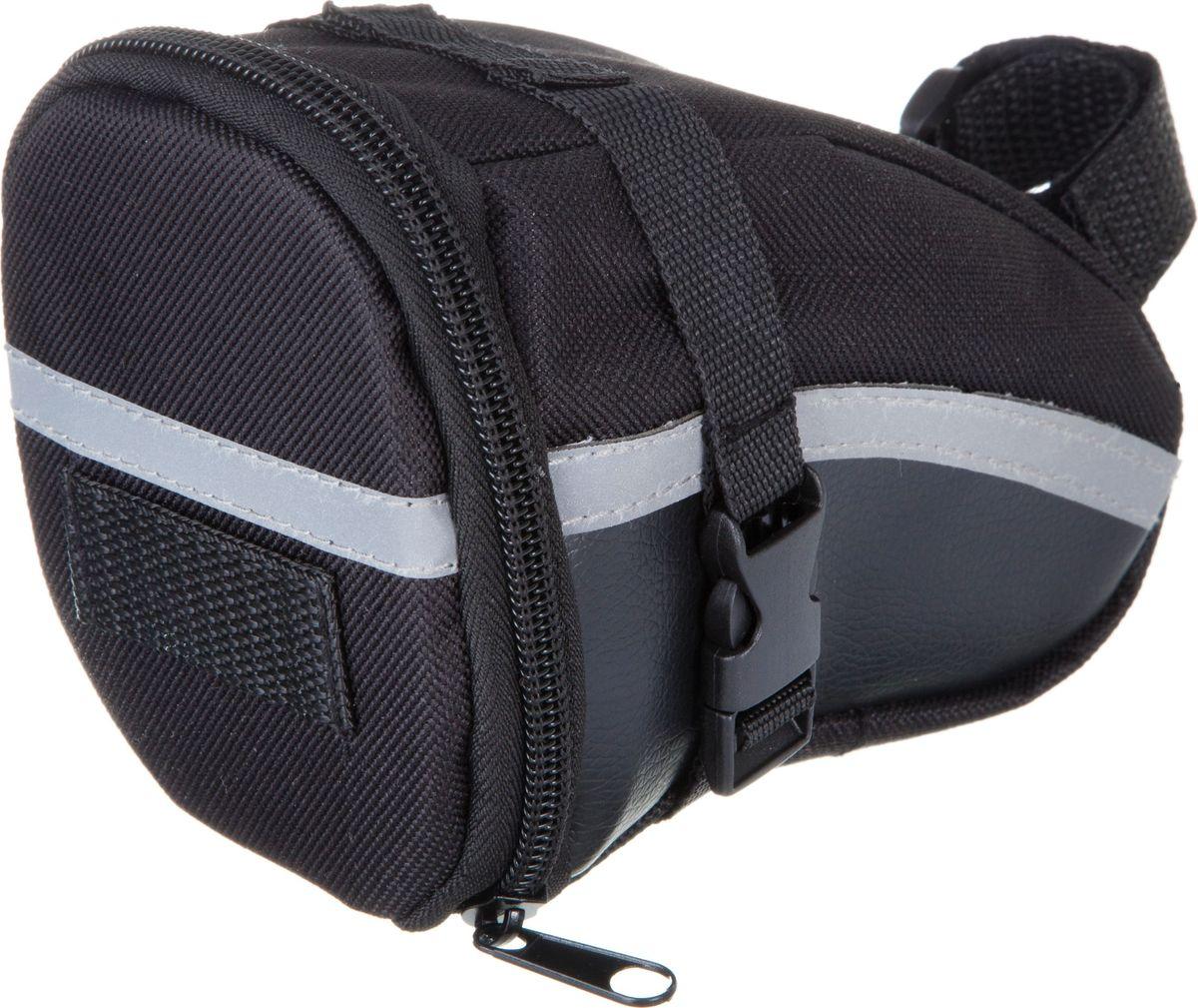 Велосумка STG 13196, под седло, цвет: черный. Х83840Х83840Компактная и вместительная велосумка STG 13196для крепления под седло не доставит вам дискомфорта. Вы сможете перевозить небольшой набор инструментов или личные вещи во время велопрогулок. Сумка оборудована светоотражающим элементом.