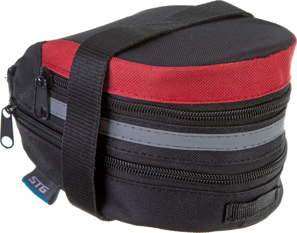 Велосумка STG 13014, под седло, цвет: черный, красный. Х83841Х83841Компактная и вместительная велосумка STG 13014 для крепления под седло не доставит вам дискомфорта. Вы сможете перевозить небольшой набор инструментов или личные вещи во время велопрогулок. Сумка оборудована светоотражающим элементом.Гид по велоаксессуарам. Статья OZON Гид