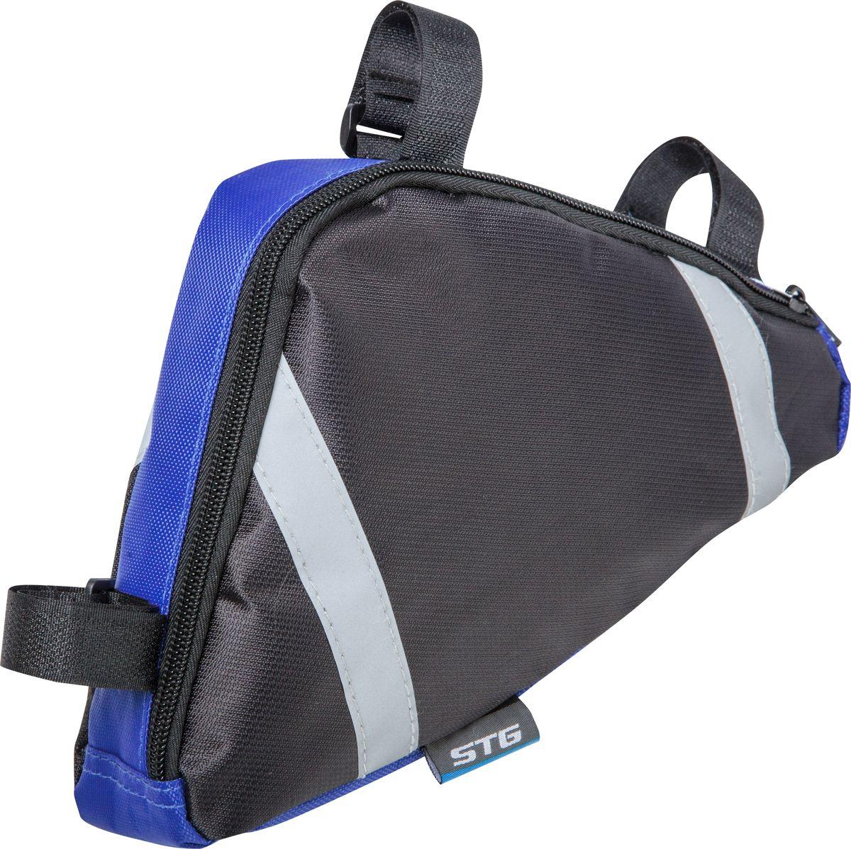 Велосумка STG 12490, под раму, цвет: черный, синий. Х83843Х83843Вместительная треугольная сумка STG 12490 под раму велосипеда позволит всегда иметь под рукой все самые необходимые инструменты во время близких и дальних прогулок.Гид по велоаксессуарам. Статья OZON Гид