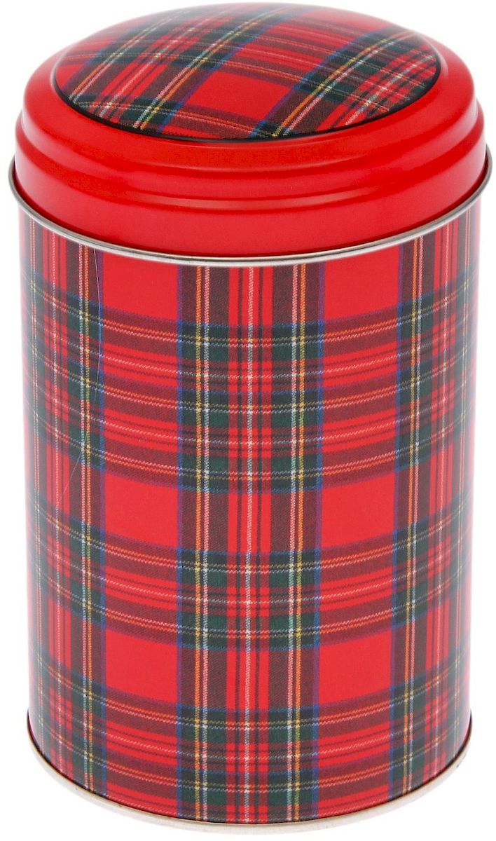 Банка для сыпучих продуктов Шотландка, 1,1 л2107384Жестяная банка для сыпучих продуктов Шотландка отлично подойдет для хранения круп, сахара, чая, кофе и многого другого. Крышка плотно закрывается и защищает содержимое от влаги и пыли. Изделие дополнено рисунком в клетку. Диаметр банки: 10 см. Высота банки: 14,5 см.