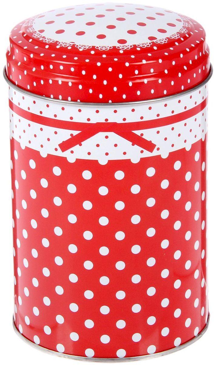 Банка для сыпучих продуктов Горошек, 1,1 л2330263Жестяная банка для сыпучих продуктов Горошек отлично подойдет для хранения круп, сахара, чая, кофе и многого другого. Крышка плотно закрывается и защищает содержимое от влаги и пыли. Изделие дополнено рисунком в горошек. Диаметр банки: 10 см. Высота банки: 14,5 см.