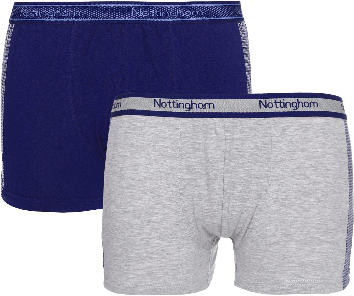 Трусы-боксеры мужские Nottingham, цвет: синий, серый, 2 шт. 14515. Размер XL (52) цены онлайн