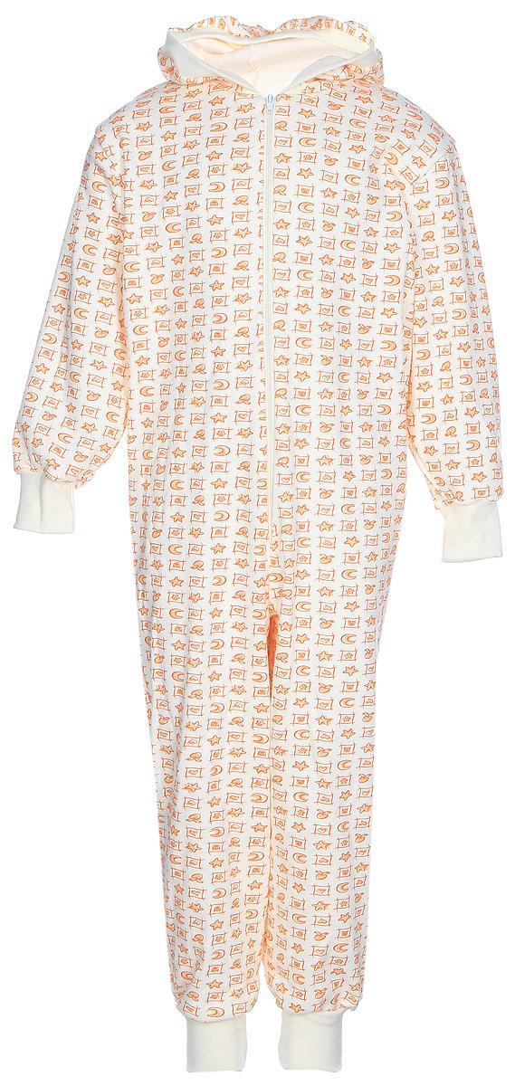 Пижама для девочки КотМарКот, цвет: оранжевый, светло-бежевый. 16925. Размер 122/12816925Удобная и комфортная пижама для девочки КотМарКот изготовлена из натурального хлопка. Материал мягкий и тактильно приятный. Модель в виде комбинезона с капюшоном и длинными рукавами застегивается на молнию. Рукава и брючины дополнены манжетами. Изделие оформлено принтом.