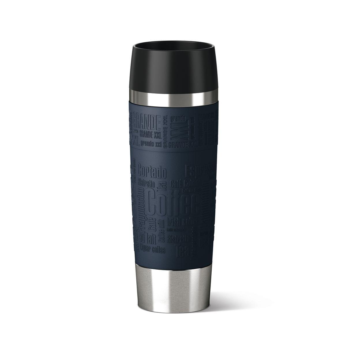 Термокружка Emsa Travel mug Grande, цвет: темно-синий, стальной, 500 мл515618Термокружка Emsa Travel Mug Grande - это идеальный попутчик в дороге - не важно, по пути ли на работу, в школу или во время похода по магазинам. Вакуумная кружка на 100 % герметична. Кружка имеет двустенную вакуумную колбу из нержавеющей стали, благодаря чему температура жидкости сохраняется долгое время. Кружку удобно держать благодаря покрытию Soft Touch из силикона. Изделие открывается нажатием кнопки. Пробка разбирается и превосходно моется. Дно кружки выполнено из силикона, что препятствует скольжению.Диаметр кружки по верхнему краю: 7,5 см.Диаметр дна кружки: 6,5 см.Высота кружки: 24 см.Сохранение холодной температуры: 12 ч.Сохранение горячей температуры: 6 ч.