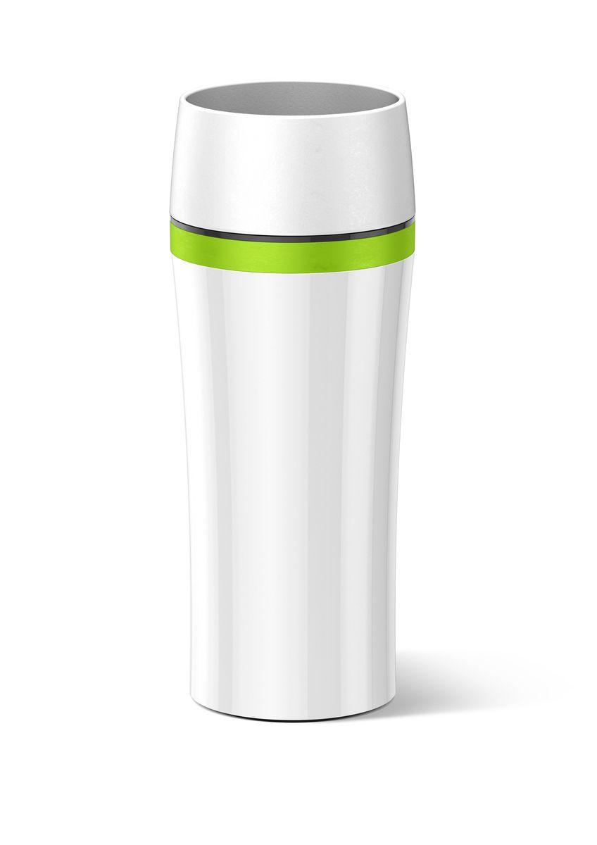 Термокружка Emsa Travel Mug Fun, цвет: белый, зеленый, 360 мл514176Термокружка Emsa Travel Mug Fun - это идеальный попутчик в дороге - не важно, по пути ли на работу, в школу или во время похода по магазинам. Вакуумная кружка на 100 % герметична. Корпус выполнен из высококачественного пластика и имеет 2 стенки, благодаря чему температура жидкости сохраняется долгое время. Термокружка открывается нажатием кнопки, можно пить из нее с любой стороны. Пробка разбирается и превосходно моется. Дно кружки выполнено из силикона, что препятствует скольжению.Диаметр кружки по верхнему краю: 7,5 см.Диаметр дна кружки: 7 см.Высота кружки: 20,5 см.