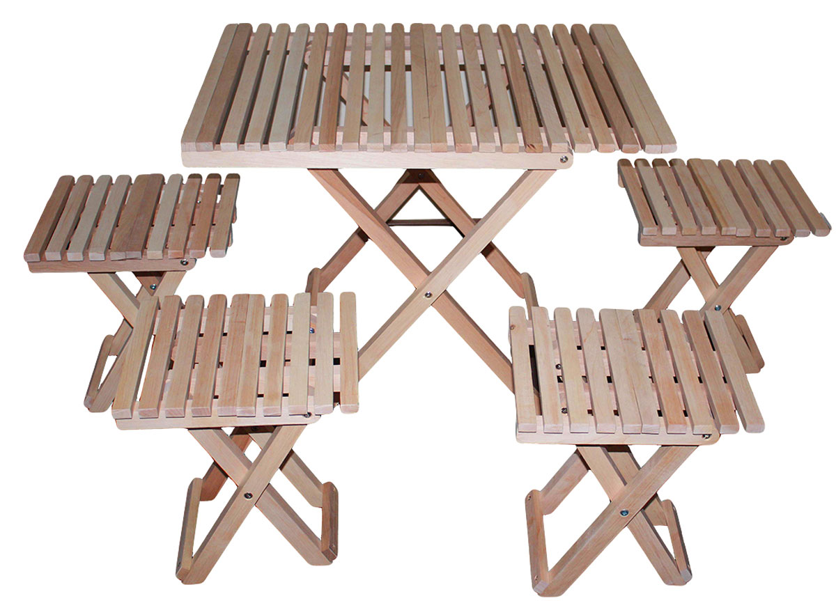 Набор мебели для пикника Счастливый дачник, 5 предметовНСД-2Набор складной мебели для пикника Счастливый дачник - это незаменимый набор на даче для приятного времяпрепровождения. Набор состоит из складного стола и четырех табуретов. Мебель выполнена из дерева (ольха), легко складывается и компактна при хранении.Такой набор прекрасно подойдет для комфортного отдыха на даче.Стол в разобранном виде: 75 х 60,5 х 65,5 см.Стол в собранном виде: 80 х 60,5 х 5,5 см.Табурет в разобранном виде: 56 х 44,5 х 92 см.Табурет в собранном виде: 72 х 44,5 х 6 см.Размер упаковки (сумка): 80 х 63 х 18 см.