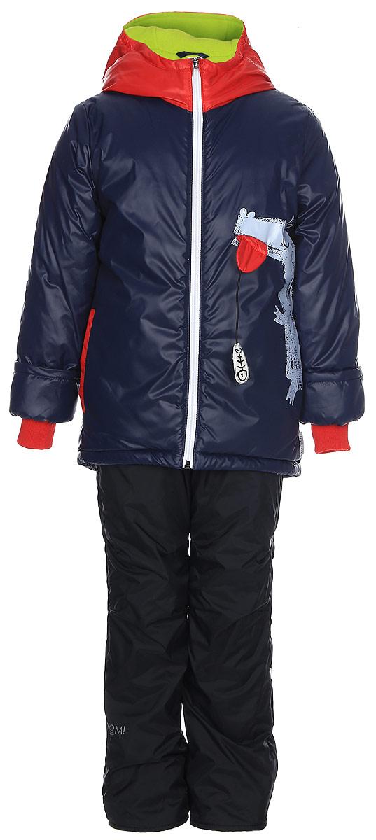 Комплект верхней одежды для мальчика Boom!: куртка, брюки, цвет: темно-синий, красный. 70350_BOB_вар.1. Размер 122, 7-8 лет70350_BOB_вар.1Комплект верхней одежды для мальчика Boom! состоит из куртки и брюк. Комплект выполнен из полиэстера. Куртка с капюшоном застегивается спереди на молнию. На рукавах предусмотрены манжеты, препятствующие проникновению холодного воздуха. Спереди расположены два прорезных кармана на застежках-молниях. Теплые брюки дополнены эластичными наплечными лямками, регулируемыми по длине. На талии предусмотрена широкая резинка. Комплект снабжен светоотражающими элементами.