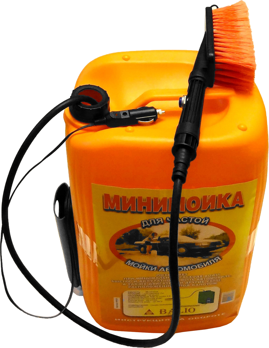 Минимойка Балио, 20 л. М120М120Минимойка Балио, работающая от прикуривателя - быстрый, надежный, аккуратный и экономный способ вымыть автомобиль, его двигатель и различные узлы, спрятанные под капотом. Автомобиль можно мыть и в зимний период. Характеристики: - Мотор-насос вмонтирован в пластиковую емкость объемом 20 литров; - Сбоку емкости имеется приспособление (карман), куда прячется щетка и вокруг которого наматывается шнур; - Шланг помещен внутри емкости; - Для мойки используется вода (температура воды не выше 45°С), в которую можно добавить любую моющую жидкость; - На рукоятке удобно расположена специальная кнопка включения; - Калиброванное отверстие на рукоятке позволяет получить тонкую струю воды, вылетающую на расстояние до 5 метров, создающую определённый напор и одновременно ограничивающую расход воды; - На рукоятку навинчивается щетка и вода поступает на моющуюся поверхность через щетку, котора позволяет быстро и аккуратно помыть автомобиль, при этом самому не испачкаться в процессе мойки; - Шланг минимойки изготовлен из специального каучука и остается мягким и эластичным даже при отрицательной температуре воздуха; - Специально подобранный электропровод, благодаря резиновым уплотнениям автомобиля, спокойно проходит между дверью и кузовом; - В устройстве применяется штекер с предохранителем, защищающим электропроводку автомобиля при коротком замыкании.Технические характеристики: - питание: постоянный ток, - напряжение - 12 В, - номинальный потребляемый ток – 4 А, - номинальный расход воды – 25 мл/с, - давление при расходе воды равном нулю - 25 кг/см2, - температура воды – до 45°С, - режим работы – повторно-кратковременный, - длина шланга – 3 м, - длина провода электропитания – 4 м.Как выбрать мойку высокого давления. Статья OZON Гид