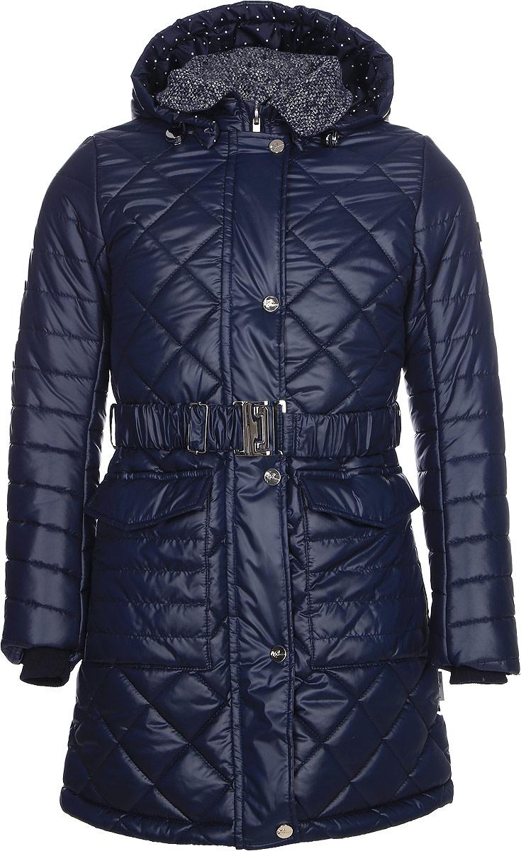 Пальто для девочки Boom!, цвет: темно-синий. 70325_BOG_вар.2. Размер 134, 9-10 лет70325_BOG_вар.2