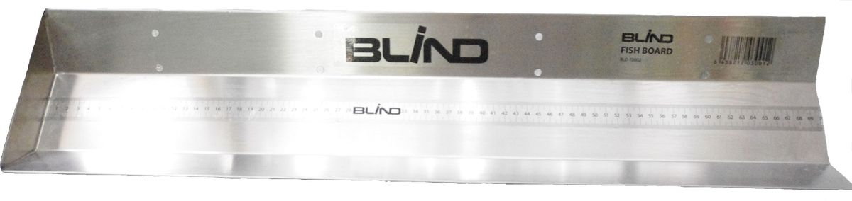 """Линейка для фиксации на лодке """"Blind"""" предназначена для измерения длины, в том числе рыбы. Линейка разлинована на металлическом желобе. Длина выражена в сантиметрах, миллиметрах. Металлический желоб имеет восемь специальных отверстий для крепления к лодке. Края изделия специально обработаны. Желоб произведен из нержавеющей стали и имеет технические сливные отверстия для слива жидкости. Длина линейки: 70 см.    Как выбрать надувную лодку для рыбалки. Статья OZON Гид"""