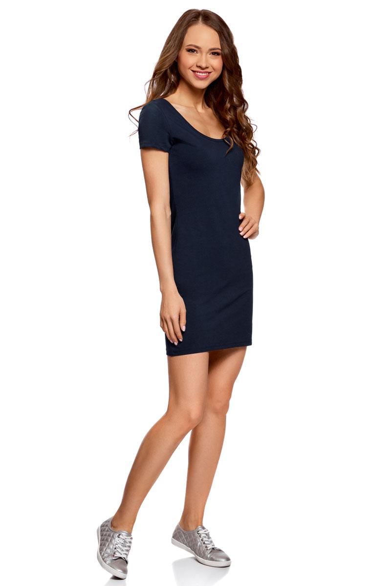 Платье oodji Ultra, цвет: темно-синий, белый. 14001182-2/47420/7910P. Размер S (44)14001182-2/47420/7910PПлатье oodji изготовлено из качественного эластичного хлопка. Модель-мини выполнена с короткими рукавами и круглым вырезом. Платье декорировано на спине оригинальным принтом.