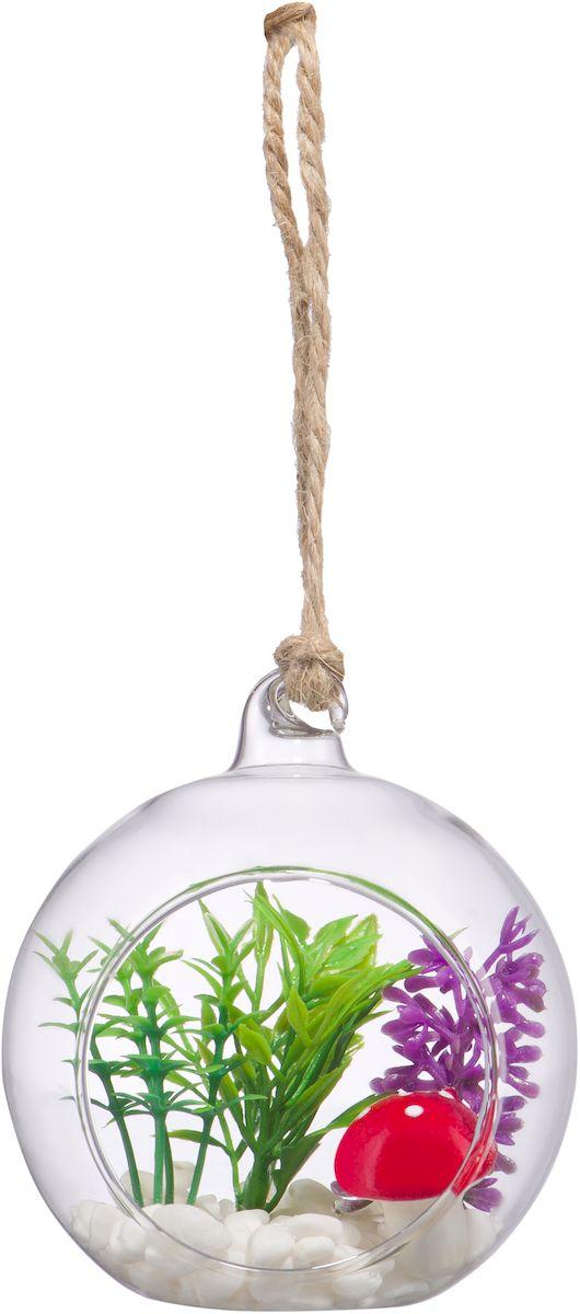 """Оригинальная подвесная ваза Engard """"Шар"""" с декоративным наполнением, выполненная из стекла, станет прекрасным украшением в помещении. Нижняя часть  шара имеет плоское донышко, что позволяет ставить его на поверхность. Размер: диаметр 9 см, высота 8 см."""