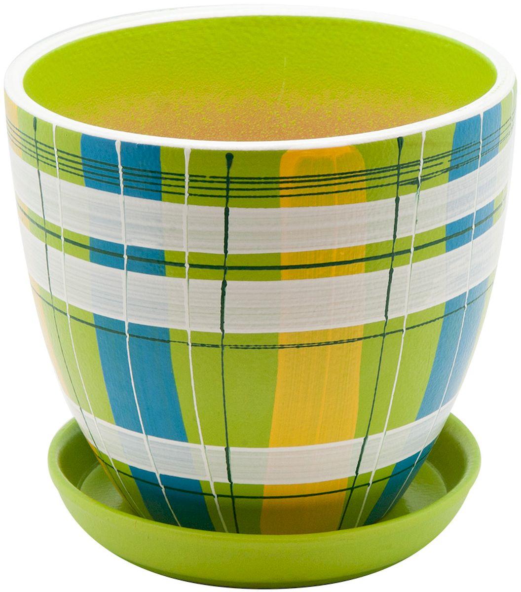 Горшок цветочный Engard, с поддоном, цвет: зеленый, 2,4 лBH-07-2Керамический горшок Engard - это идеальное решение для выращивания комнатных растений и создания изысканности в интерьере. Керамический горшок сделан из высококачественной глины в классической форме и оригинальном дизайне.Объем: 2,4 л.