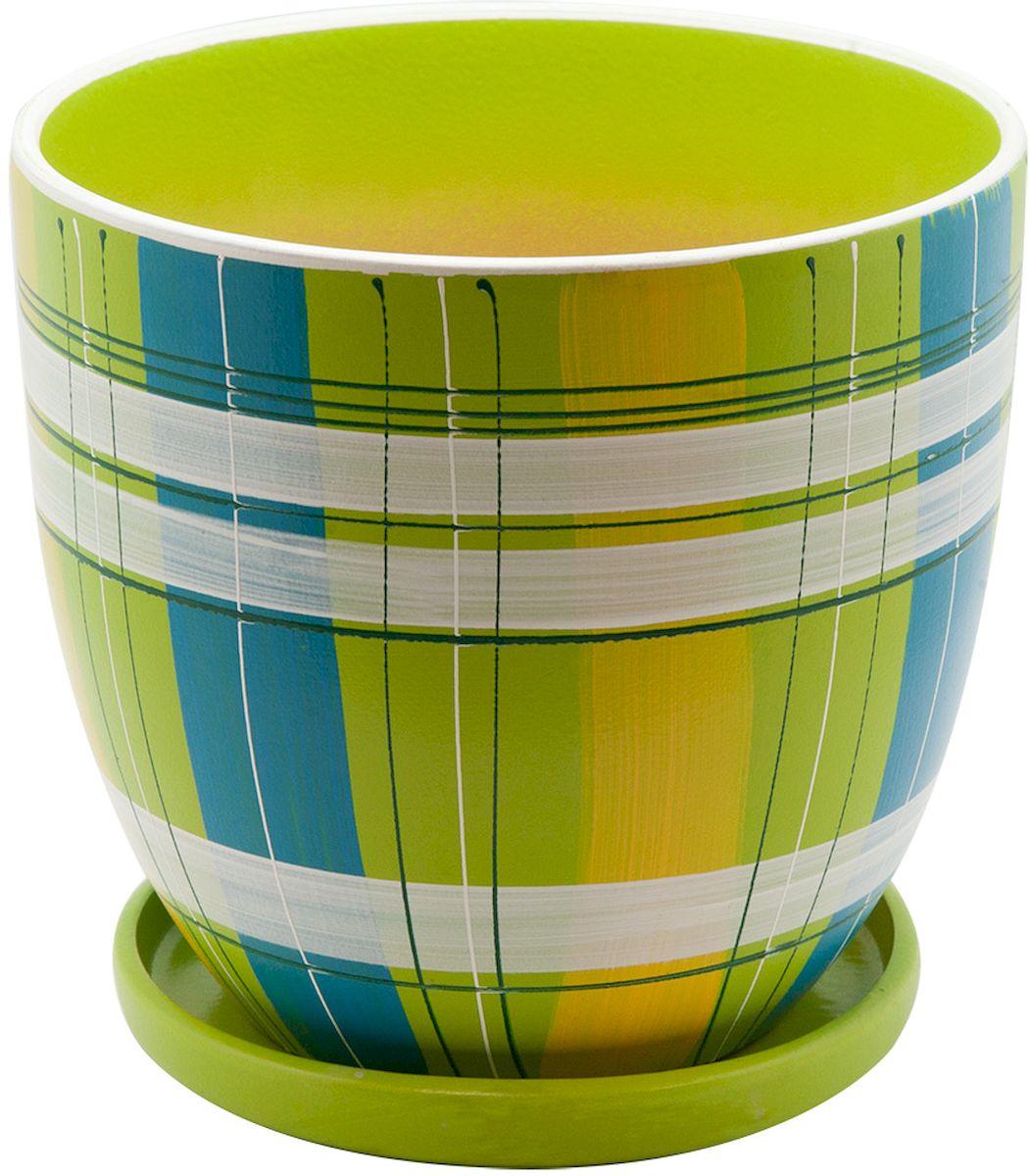 Горшок цветочный Engard, с поддоном, цвет: зеленый, 4,7 лBH-07-3Керамический горшок Engard - это идеальное решение для выращивания комнатных растений и создания изысканности в интерьере. Керамический горшок сделан из высококачественной глины в классической форме и оригинальном дизайне.Объем: 4,7 л.