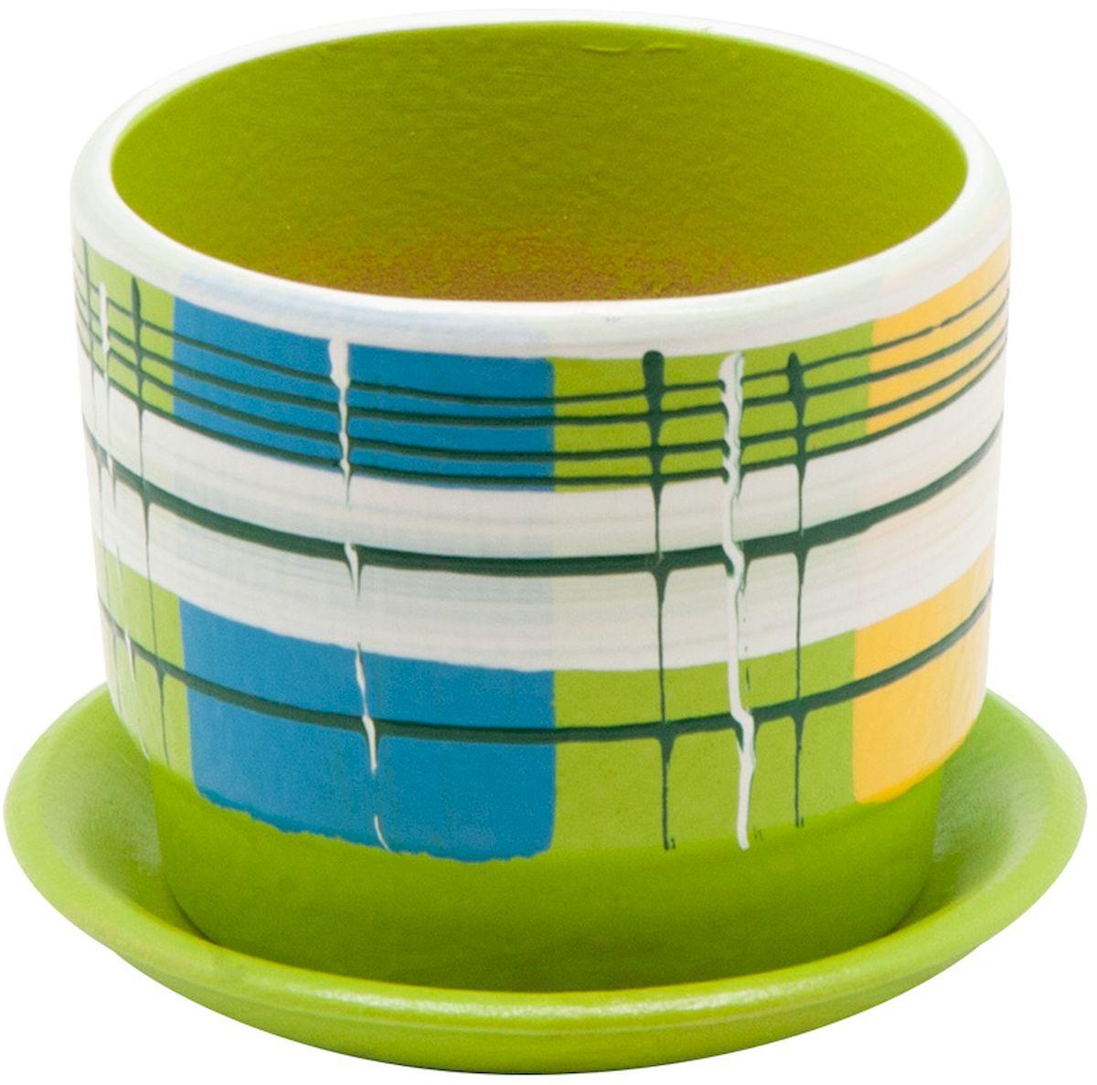 Горшок цветочный Engard, с поддоном, цвет: зеленый, 0,3 лBH-07-7Керамический горшок - это идеальное решение для выращивания комнатных растений и создания изысканности в интерьере. Керамический горшок сделан из высококачественной глины в классической форме и оригинальном дизайне.